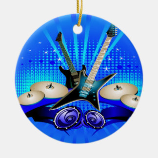 Guitarras eléctricas, tambores y altavoces azules