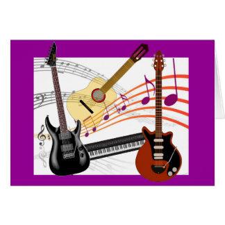 Guitarras frescas teclado y cumpleaños de las tarjeta