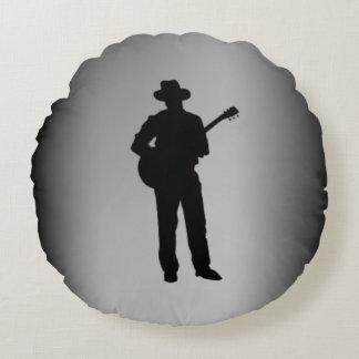 Guitarrista con el gorra personal cojín redondo