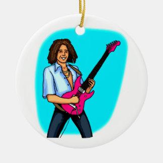 Guitarrista, oscuridad pelada, el jugar eléctrico adorno redondo de cerámica