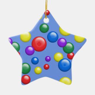 Gumballs multicolor en azul adorno de cerámica en forma de estrella