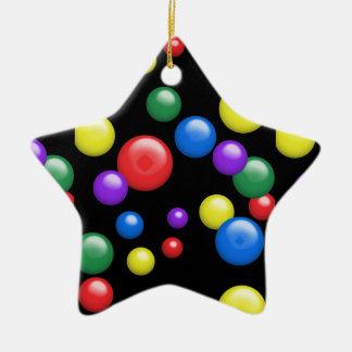 Gumballs multicolor en negro adorno de cerámica en forma de estrella