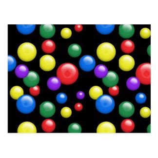 Gumballs multicolor en negro postal