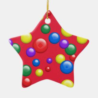 Gumballs multicolor en rojo adorno de cerámica en forma de estrella
