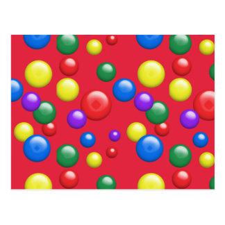 Gumballs multicolor en rojo postal