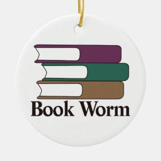 Gusano de libro adorno redondo de cerámica