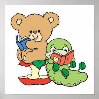 Gusano de libro y oso lindos de la lectura impresiones
