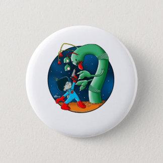 Gusano del astronauta y del dinosaurio chapa redonda de 5 cm