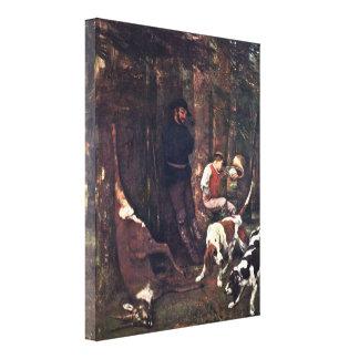 Gustave Courbet - la presa (caza con los perros) Impresiones En Lona Estiradas