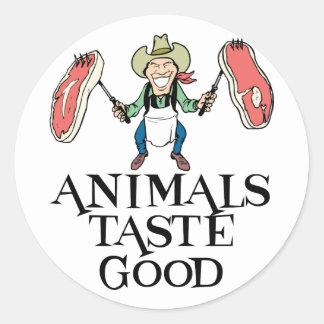 Gusto de los animales bueno pegatina redonda