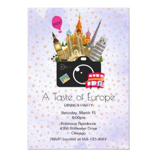 Gusto europeo de las señales del fiesta de Europa Invitación 12,7 X 17,8 Cm