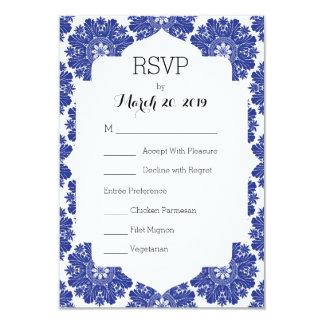 Habitación barroca azul y blanca de RSVP del boda Invitación 8,9 X 12,7 Cm
