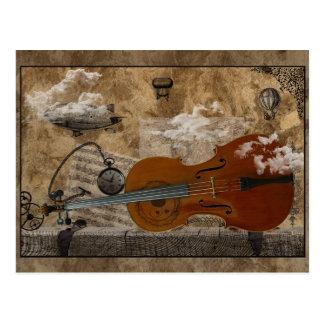 Habitación de Steampunk del violoncelo Postal