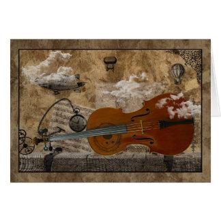 Habitación de Steampunk del violoncelo Tarjeta