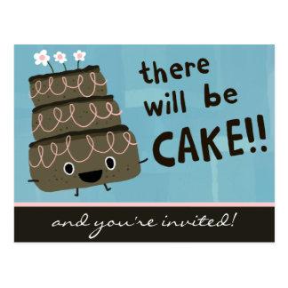 ¡Habrá torta! Invitación divertida del fiesta Postal