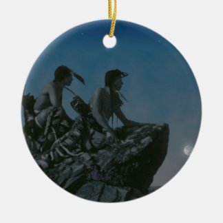 Hace muchas lunas adorno redondo de cerámica