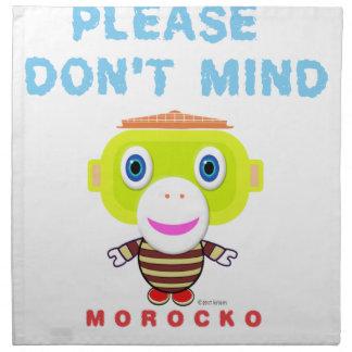 Hace por favor no el Mono-Morocko Mente-Lindo Servilleta De Tela