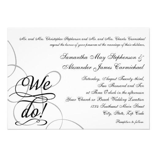 Hacemos, boda blanco y negro de Swirly Comunicado Personal