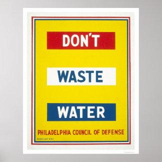Hacen no las aguas residuales WPA Póster