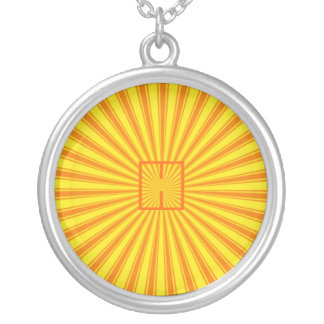 Haces, amarillo y naranja retros enrrollados colgantes personalizados