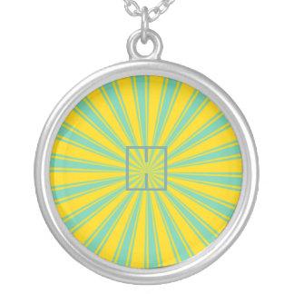 Haces, amarillo y turquesa retros enrrollados joyerias personalizadas