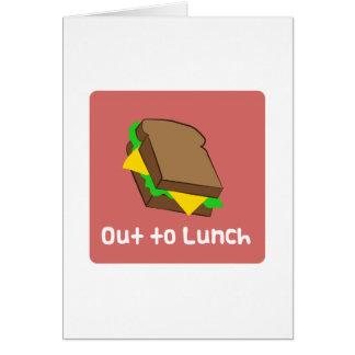 Hacia fuera al almuerzo felicitacion