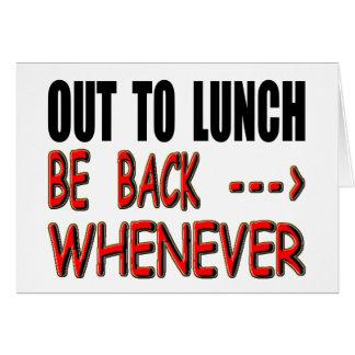 Hacia fuera al almuerzo tarjeta de felicitación