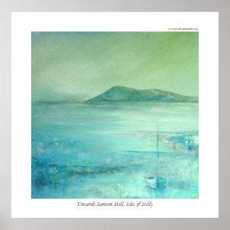 Hacia la colina de Samson, islas de Scilly Póster