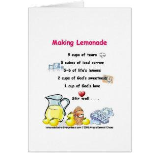 haciendo poema de la limonada la tarjeta en blanco