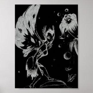 Hada blanco y negro póster