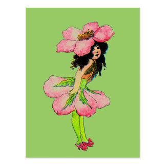 Hada color de rosa salvaje M.T Ross de las hadas Postal