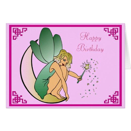 Hada con feliz cumpleaños de la vara del polvo tarjeta de felicitación