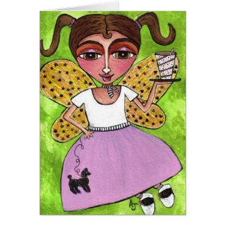 hada de los años 50 y falda del caniche - tarjeta