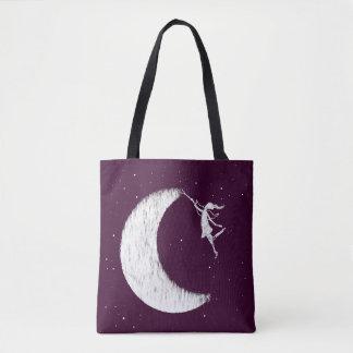Hada del arte: Pinte la luna (púrpura) Bolso De Tela