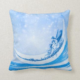 HADA del CLARO DE LUNA, collage azul de Bokeh Cojín Decorativo