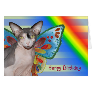 Hada del gato del arco iris del cumpleaños de la tarjeta