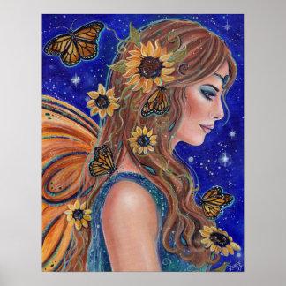 Hada del girasol con arte de las mariposas por