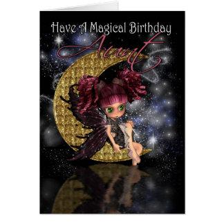 Hada linda de la luna de tía Magical Birthday Tarjeta De Felicitación