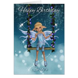 Hada linda del feliz cumpleaños de la hermana en tarjeta