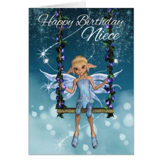 Hada linda del feliz cumpleaños de la sobrina en tarjeta de felicitación