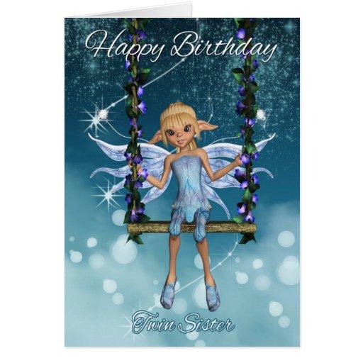 Hada linda gemela del feliz cumpleaños de la herma felicitaciones