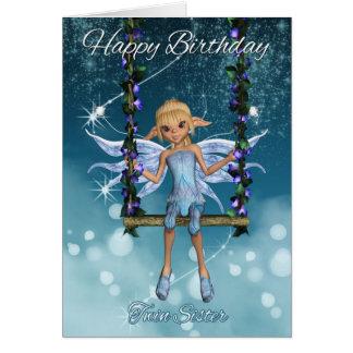 Hada linda gemela del feliz cumpleaños de la tarjeta de felicitación