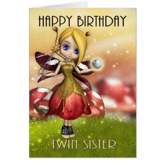 Hada mágica linda de la hermana gemela con la bola tarjeta de felicitación