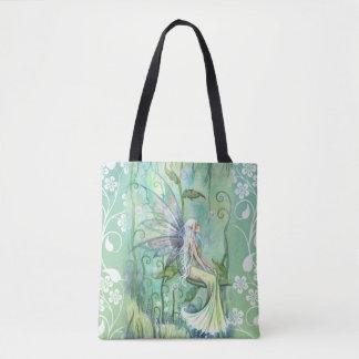 Hada preciosa en jardín verde por Molly Harrison Bolsa De Tela