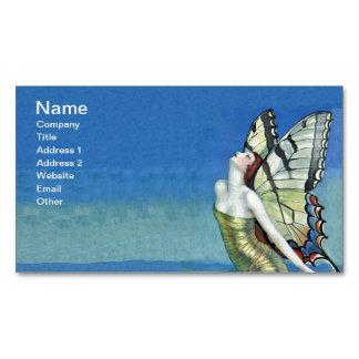 Hada roja del vintage del pelo de la mariposa de tarjetas de visita magnéticas (paquete de 25)