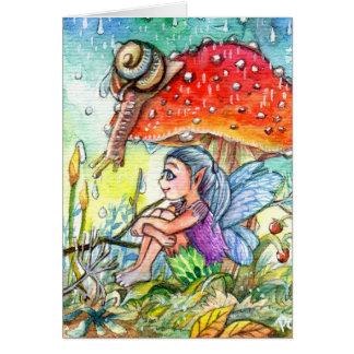 Hada y el caracol tarjeta pequeña