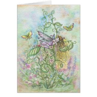 Hada y mariposas durmientes caprichosas de la flor tarjeta de felicitación