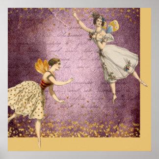 Hadas del vintage del vuelo en púrpura y el oro póster