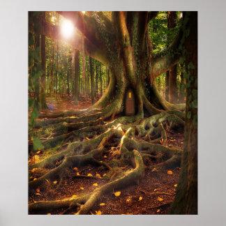 Hadas, Wiccan, Pagan, bosque Sunlit Póster