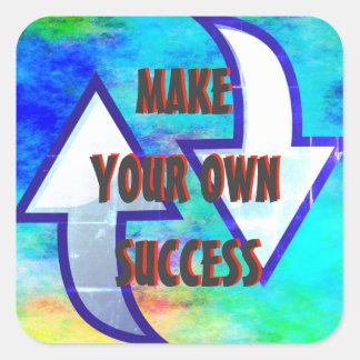 Haga a sus propios pegatinas del éxito pegatina cuadrada